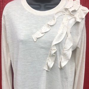 Banana Republic Cream ruffle lightweight sweater
